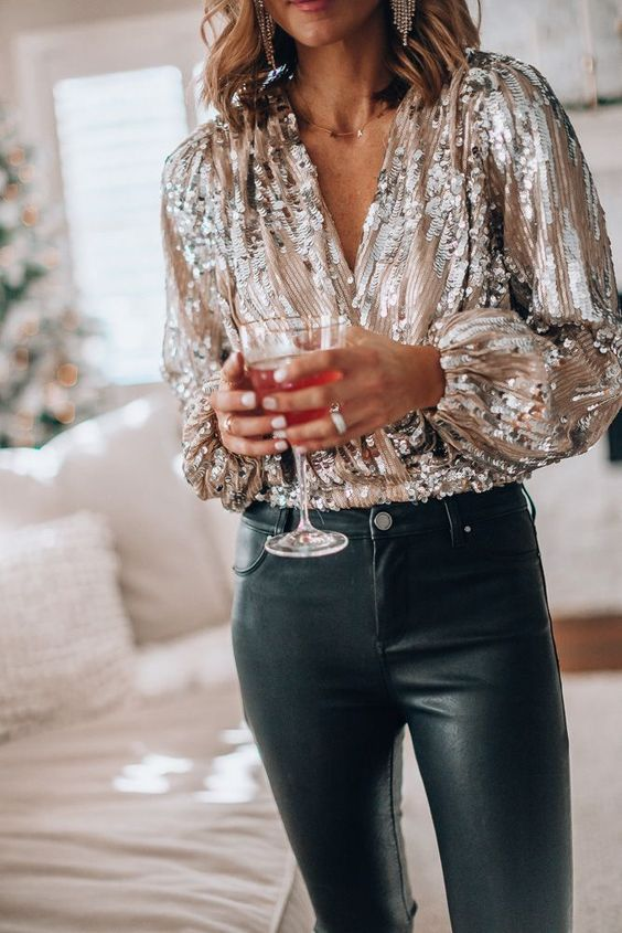 New Year dresses with sequin top and jeans