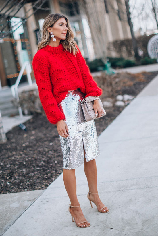 Daily Christmas outfits with sweaters and sparkling skirts