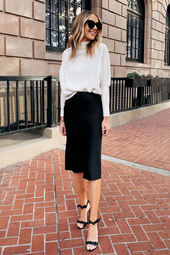 Casual work clothes with midi skirts and sweaters