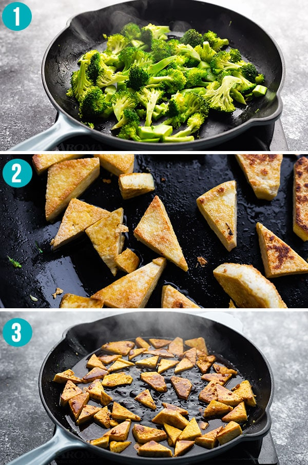 Collage picture showing how to cook teriyaki tofu