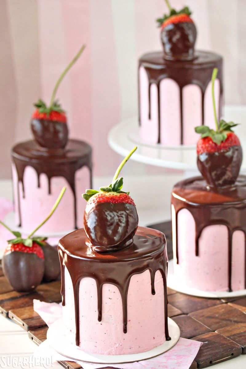 Pink chocolate-coated strawberry cake