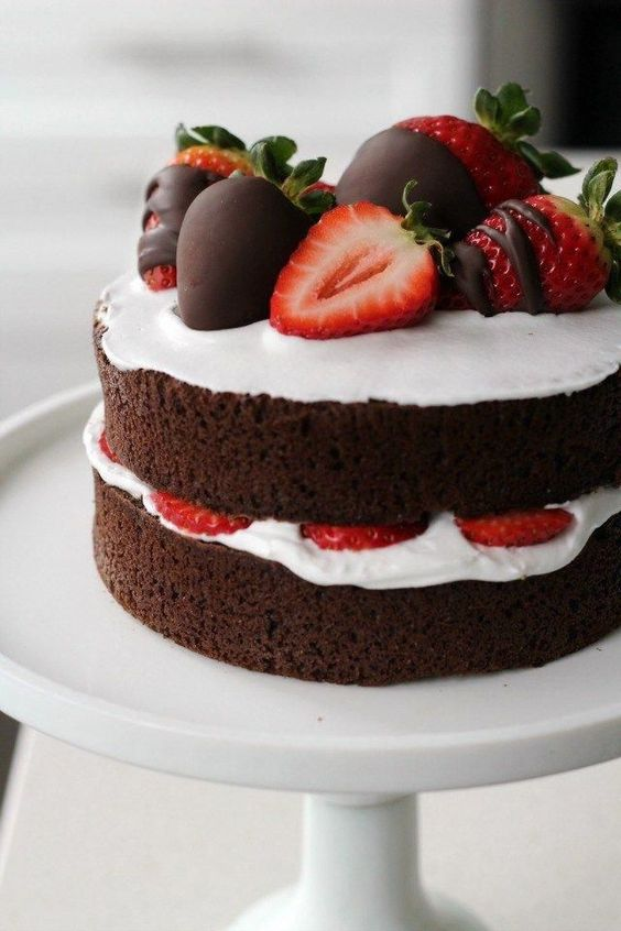 Strawberry naked chocolate cake