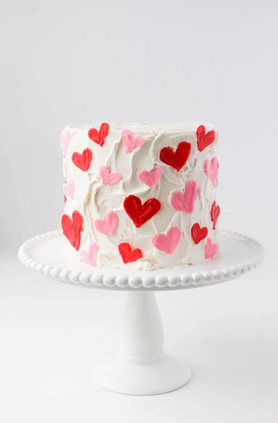 Simple and cute Valentine's Day cake with heart-shaped ornaments