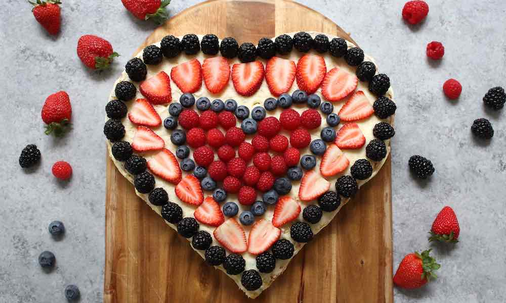 Heart-shaped fruit cake