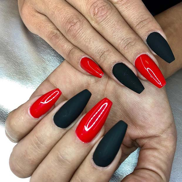 Glossy and Matte Red and Black Nails