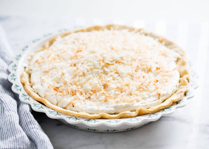 coconut cream pie in pie pan