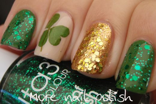 Sparkling short nail designs for St. Patrick & # 39; s Day