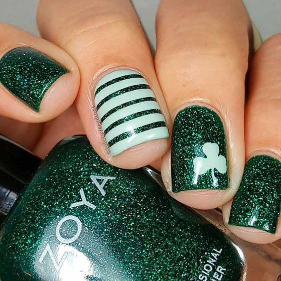 Short and Easy St Patrick & # 39; s Day Nail Art Designs