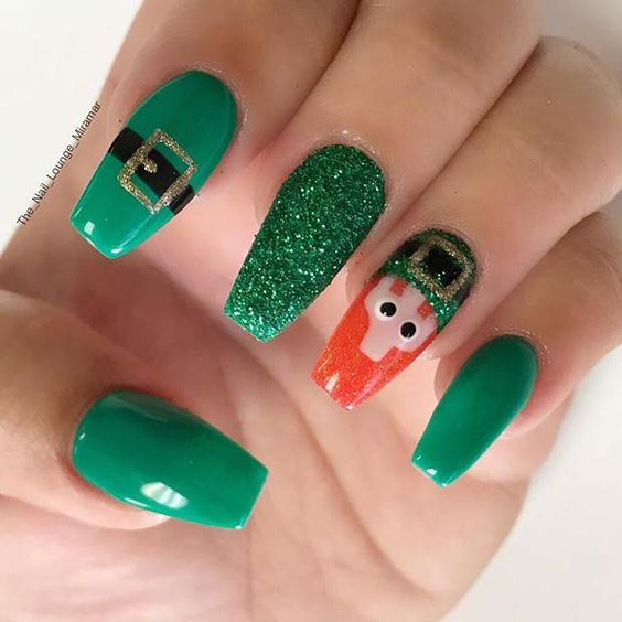 Cute St. Patrick & # 39; s Day acrylic nails