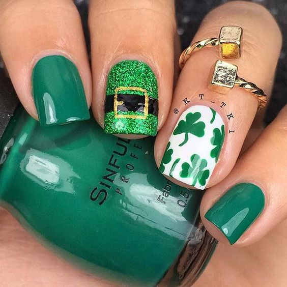 Easy St. Patrick & # 39; s Day Nail Designs on Short Nails