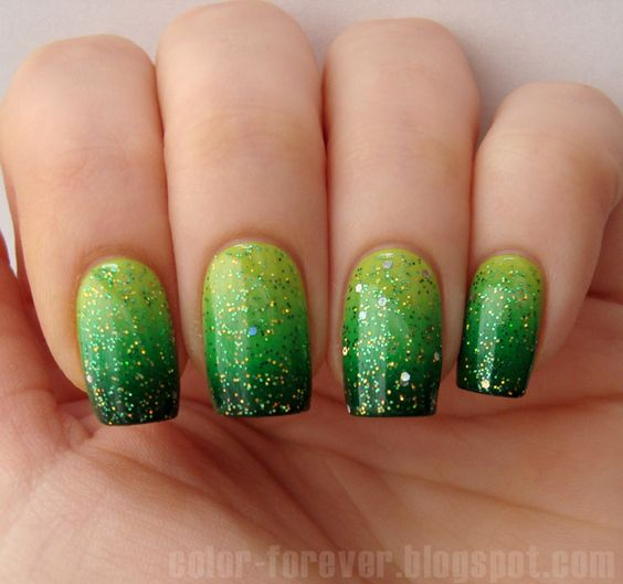 Light green and dark green ombre nails