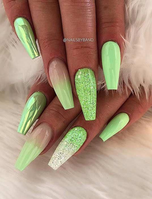 Light green ombre nails, light green coffin nails