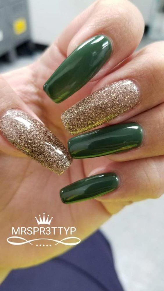 Olive green coffin nails with gold glitter
