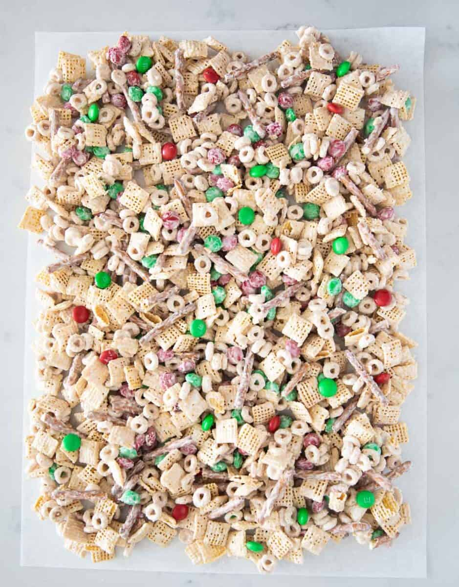 Christmas chex mix on the table
