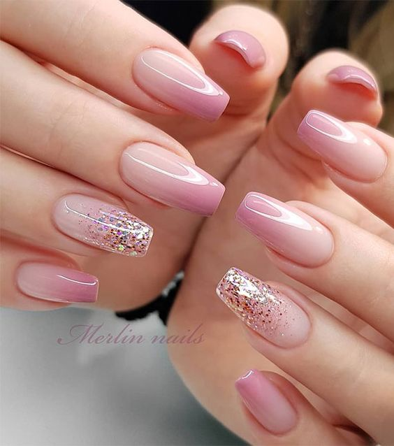 Acrylic light pink ombre nails by Merlin Nails