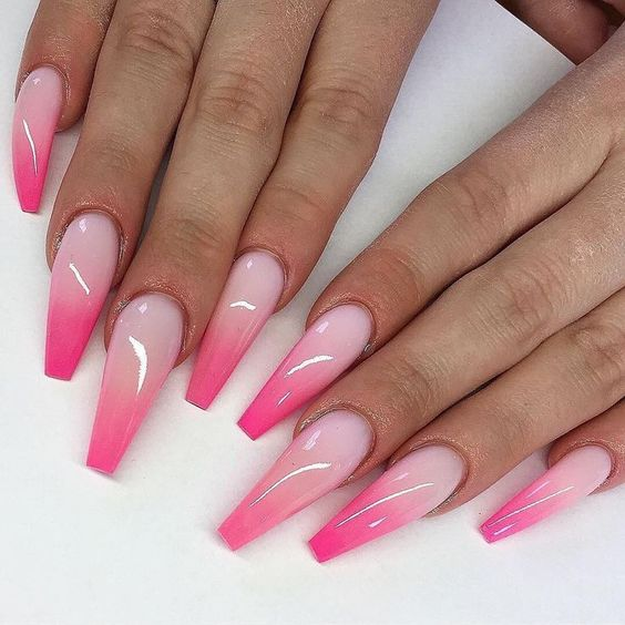 Acrylic Hot Pink Ombre Nail Designs