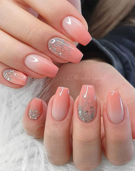 Acrylic Coral Ombre Nail Designs with Glitter with Merlin Nails, Peach Ombre Nails