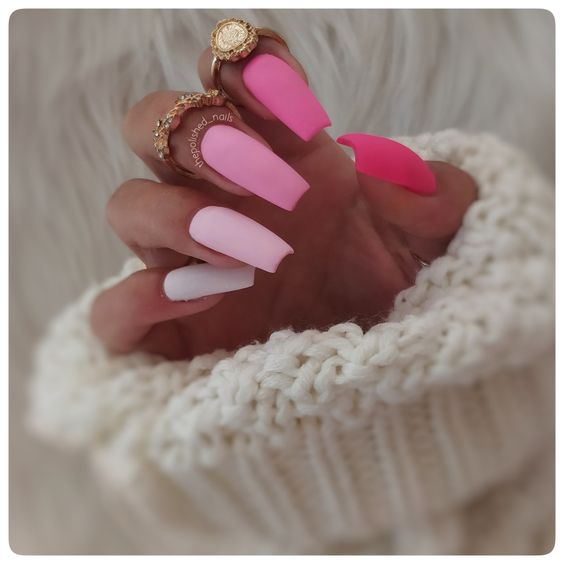 Best matte pink ombre nails in acrylic coffin shape