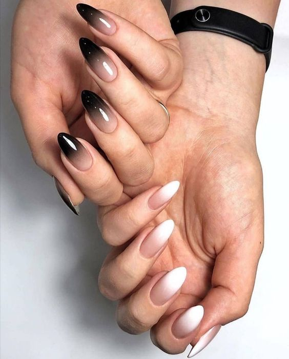 White and Black Ombre Nails Almond Shape