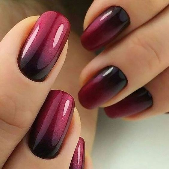Red and Black Ombre Nail Designs Gel