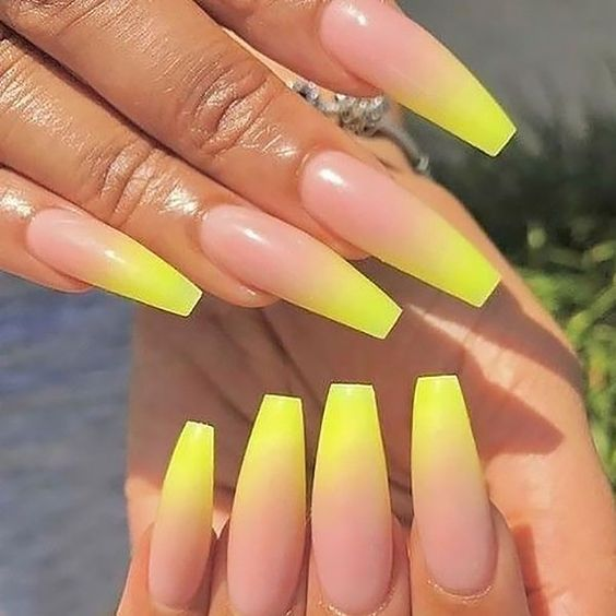 Yellow ombre nails coffin
