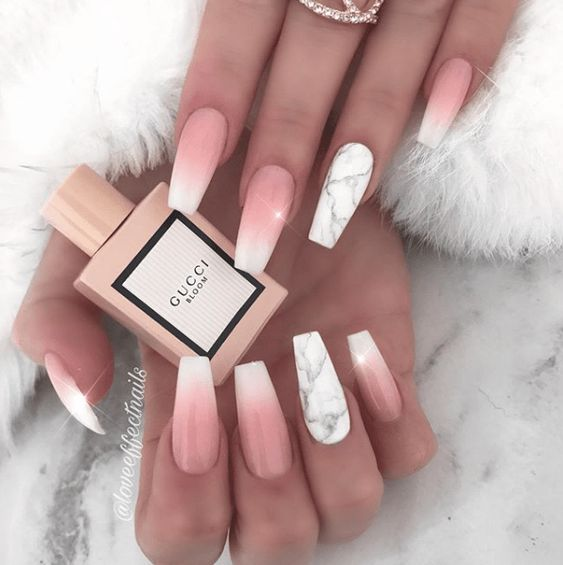 Pink and White Ombre Coffin Nail Designs