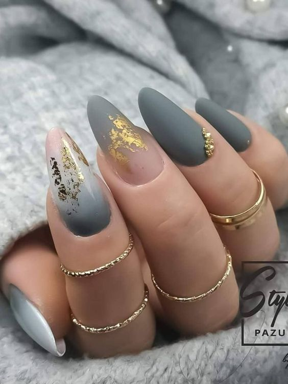 Matte gray ombre nail art with an almond shape