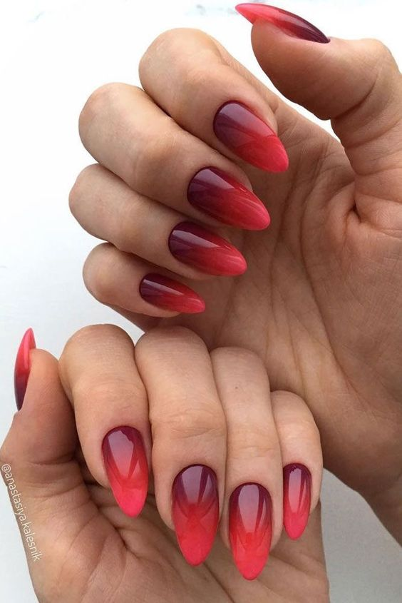 Red ombre nail gel