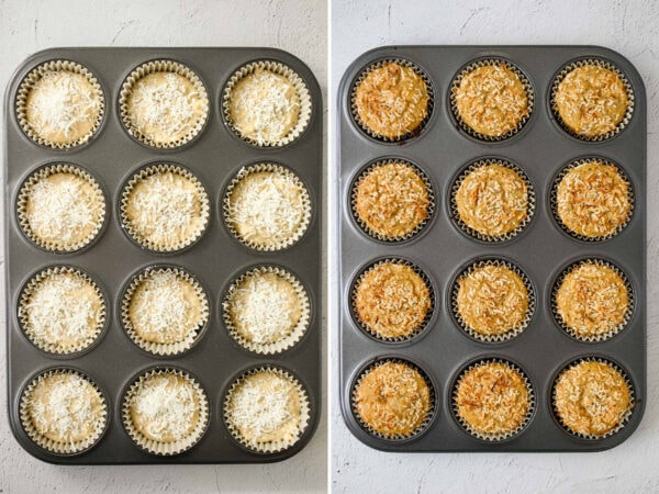Lemon chia yoghurt cake in a baking tray before and after baking