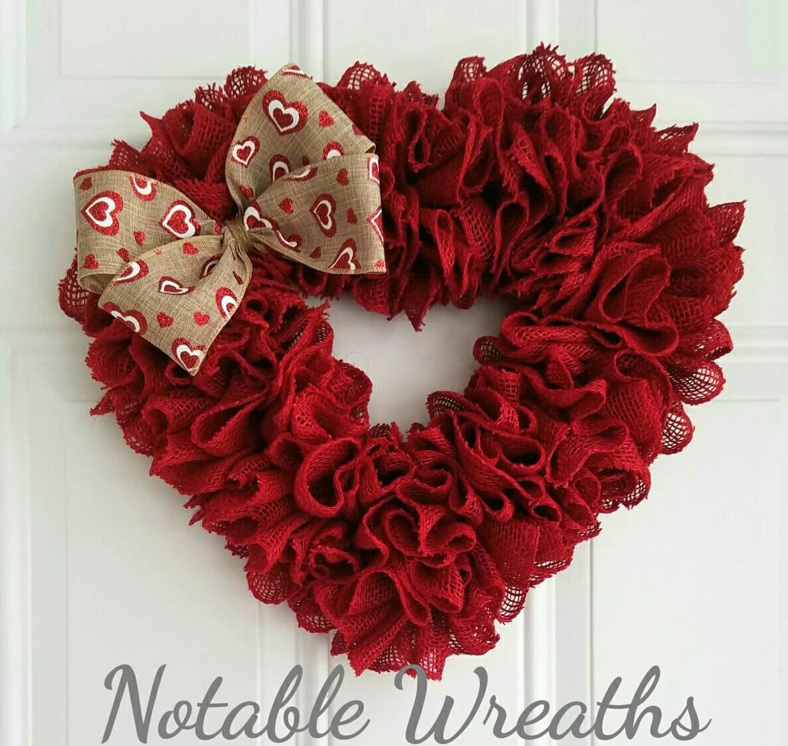 Burlap red heart shaped wreath