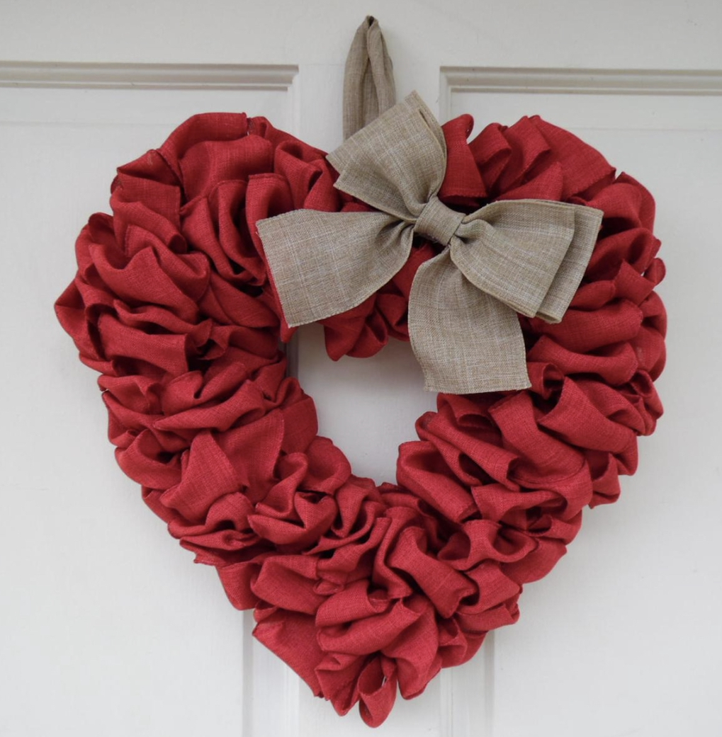 The best Valentine's Day wreaths - burlap wreath in the shape of a heart