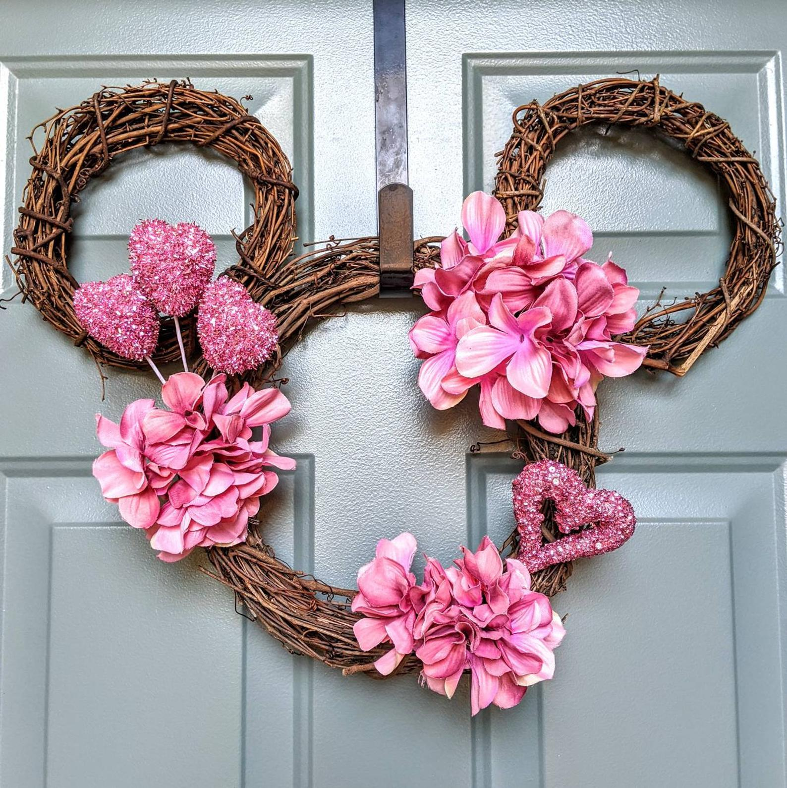 Cute grapevine and flower Disney wreaths with Mickey Mouse
