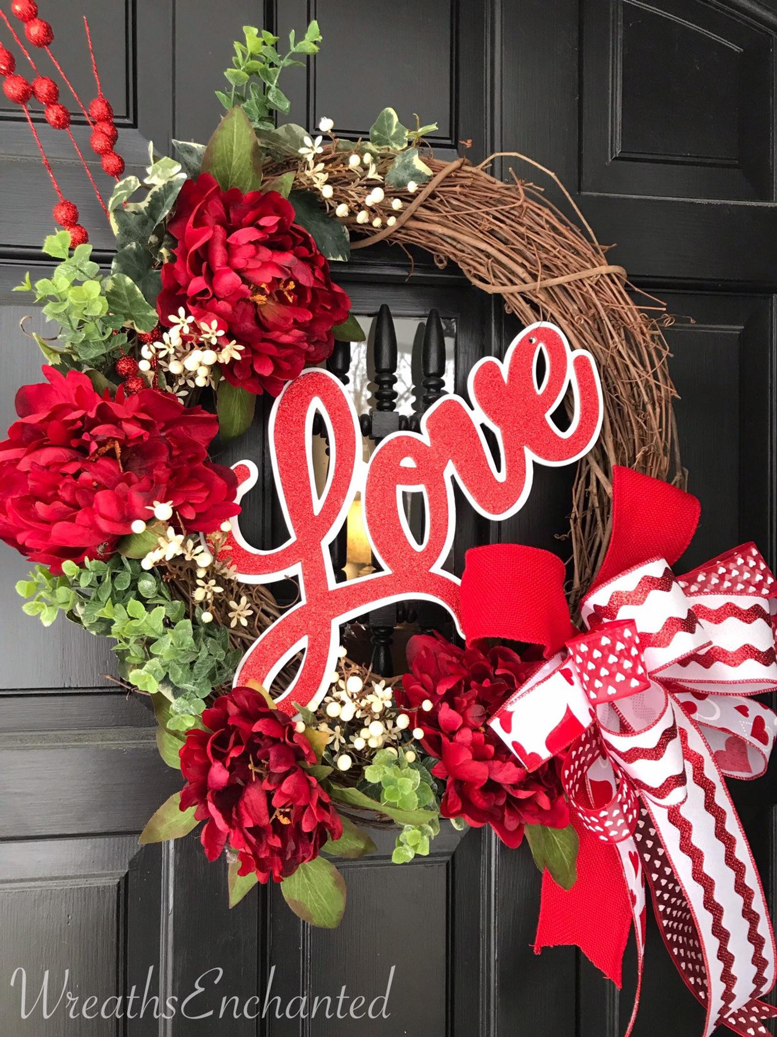 Red Valentine's Day wreath for front door with vine