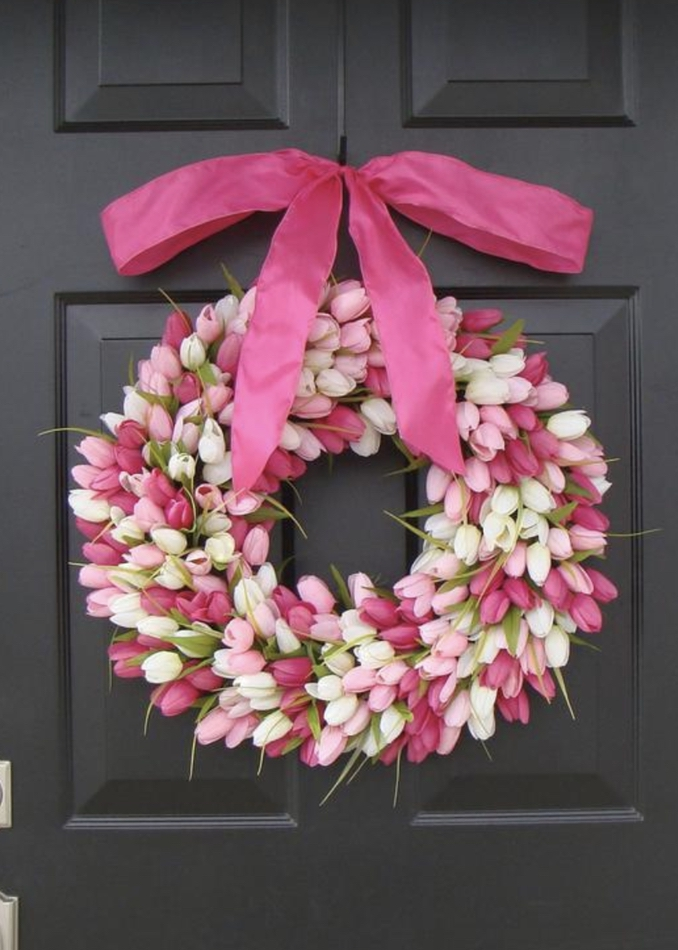 Pink Valentine's Day wreath for front door - white and pink tulip wreath with ribbon