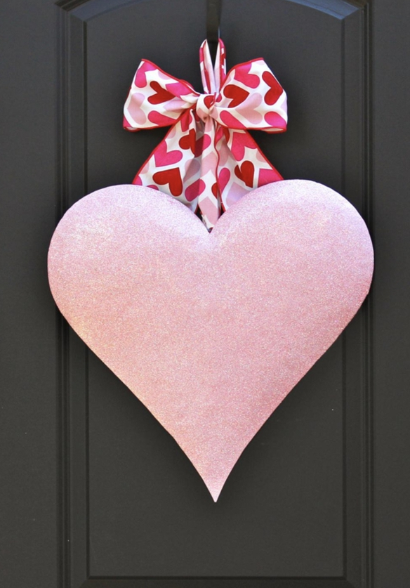 Pink heart shaped wreath