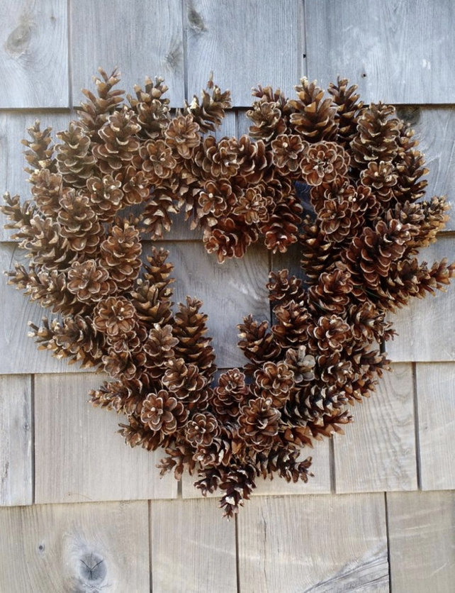 Heart-shaped wreath made from pine cones
