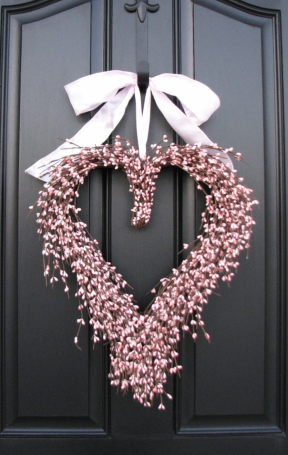 Pink Heart Shaped Wreath - cute Valentine's Day wreaths for the front door