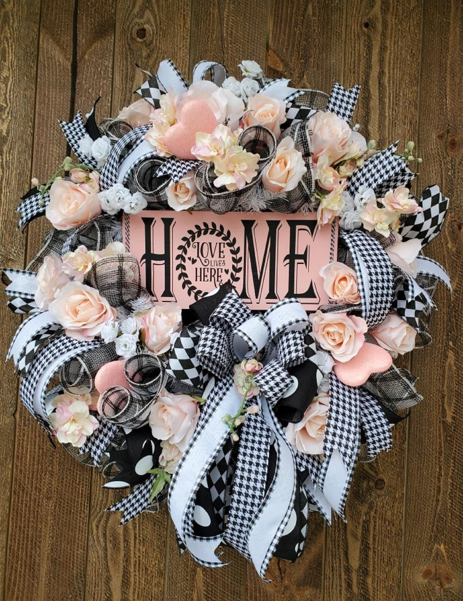 Black, white and pink Valentine's Day wreaths for the front door