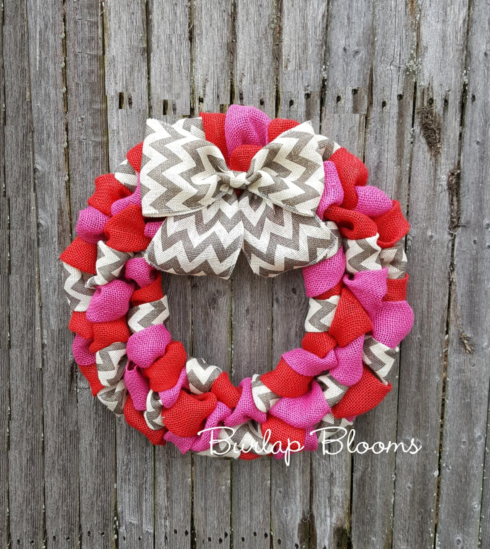 Red and pink Valentine's Day wreath with burlap