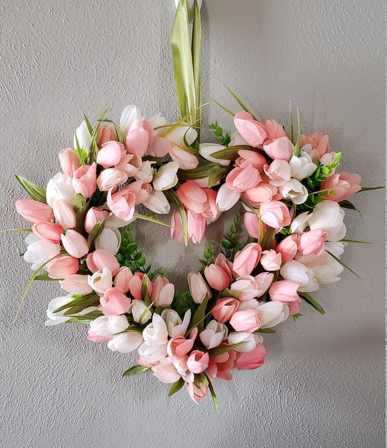 Pink heart shaped wreath, pink tulip wreath
