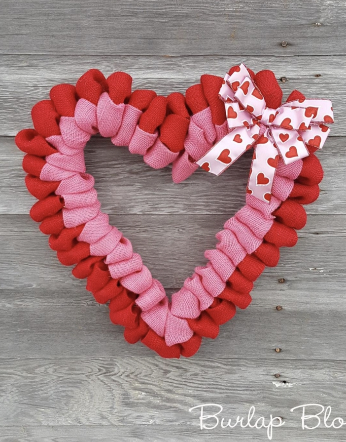 Red and pink heart-shaped wreath with burlap