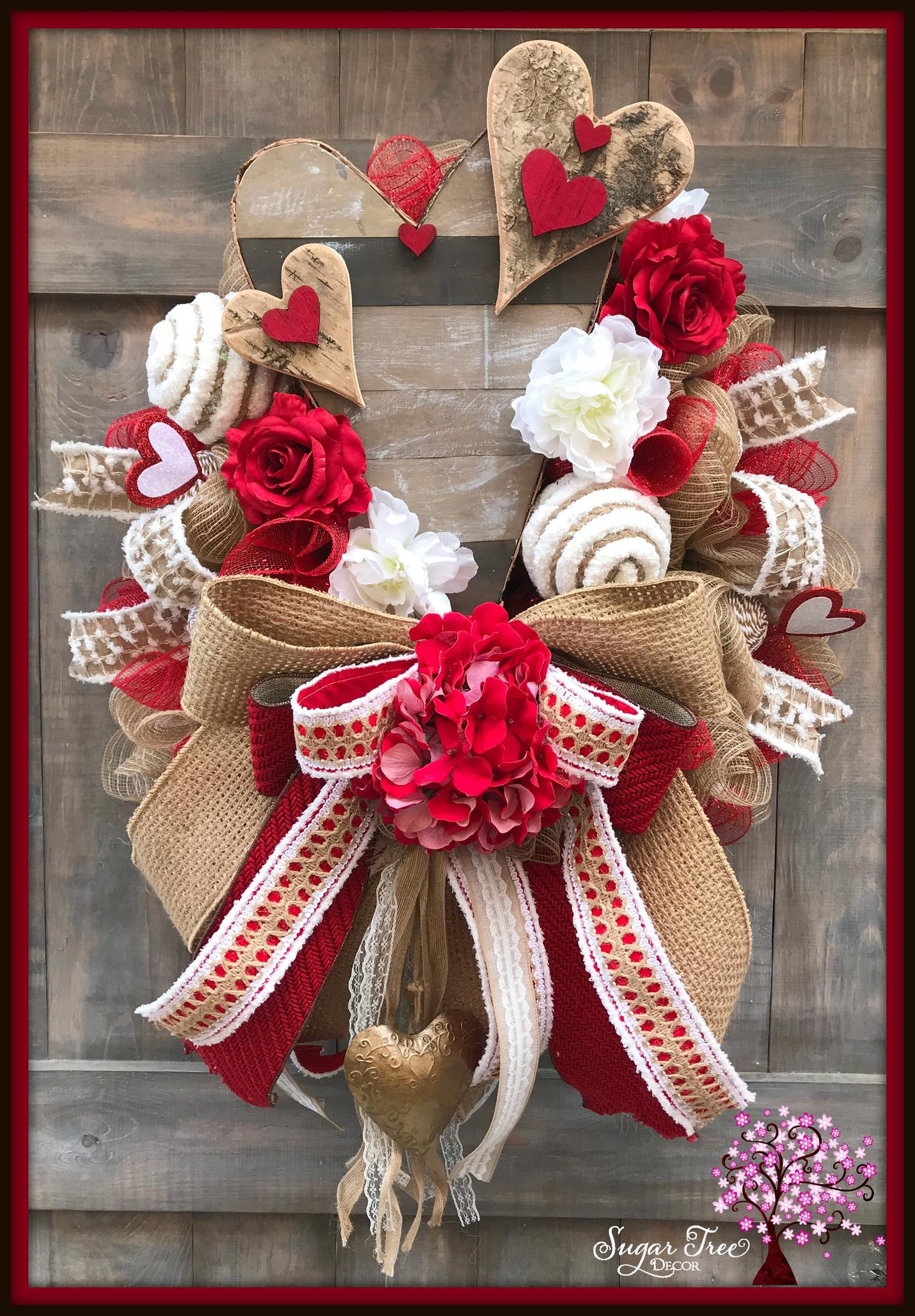 White and red Valentine's Day wreath for the front door with burlap