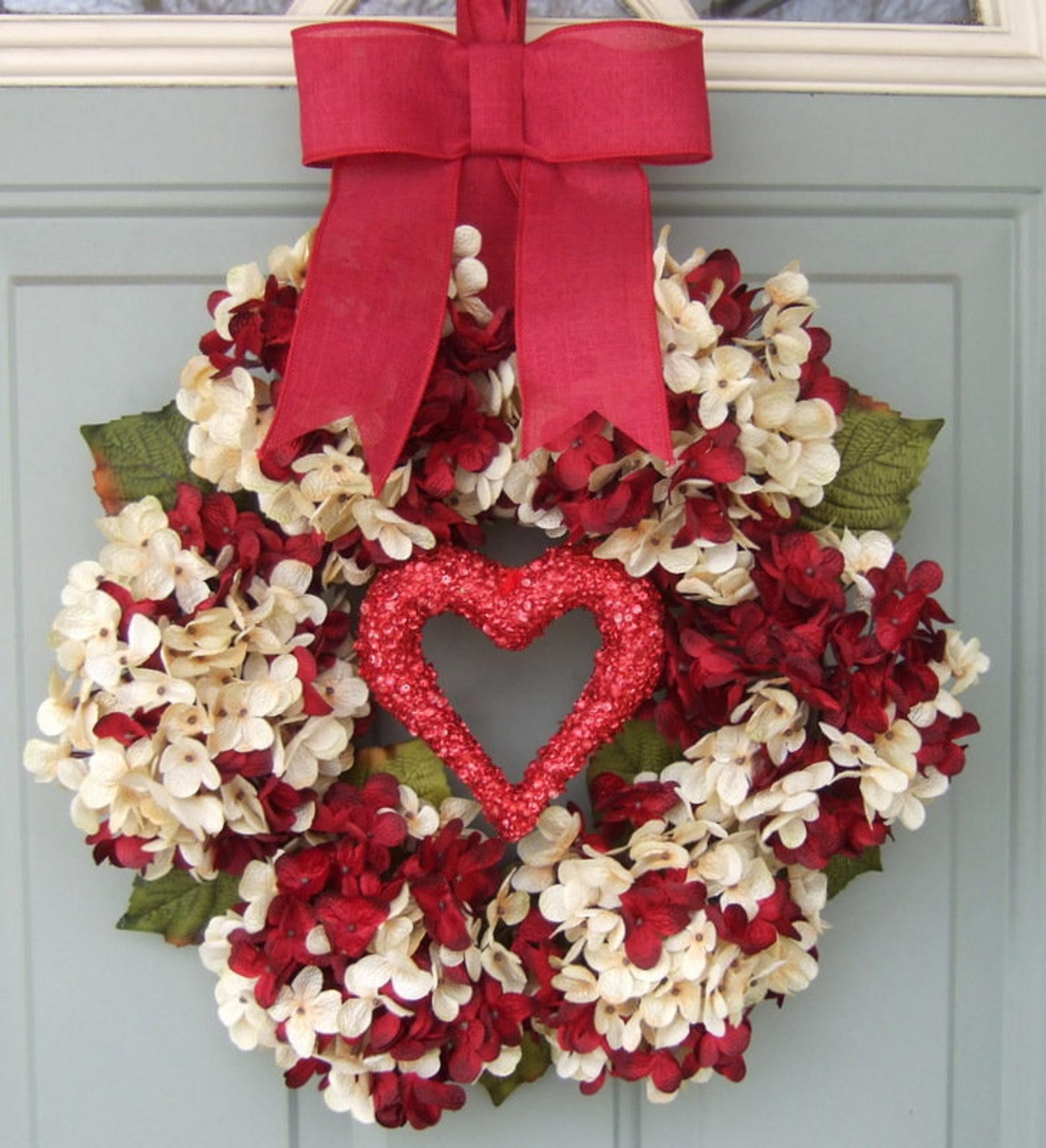 White and red hydrangea wreaths, white and red Valentine's wreaths for the front door