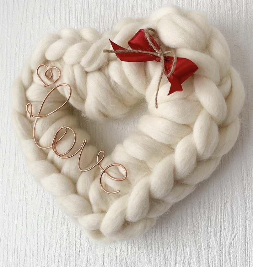 White knitted heart-shaped wreaths