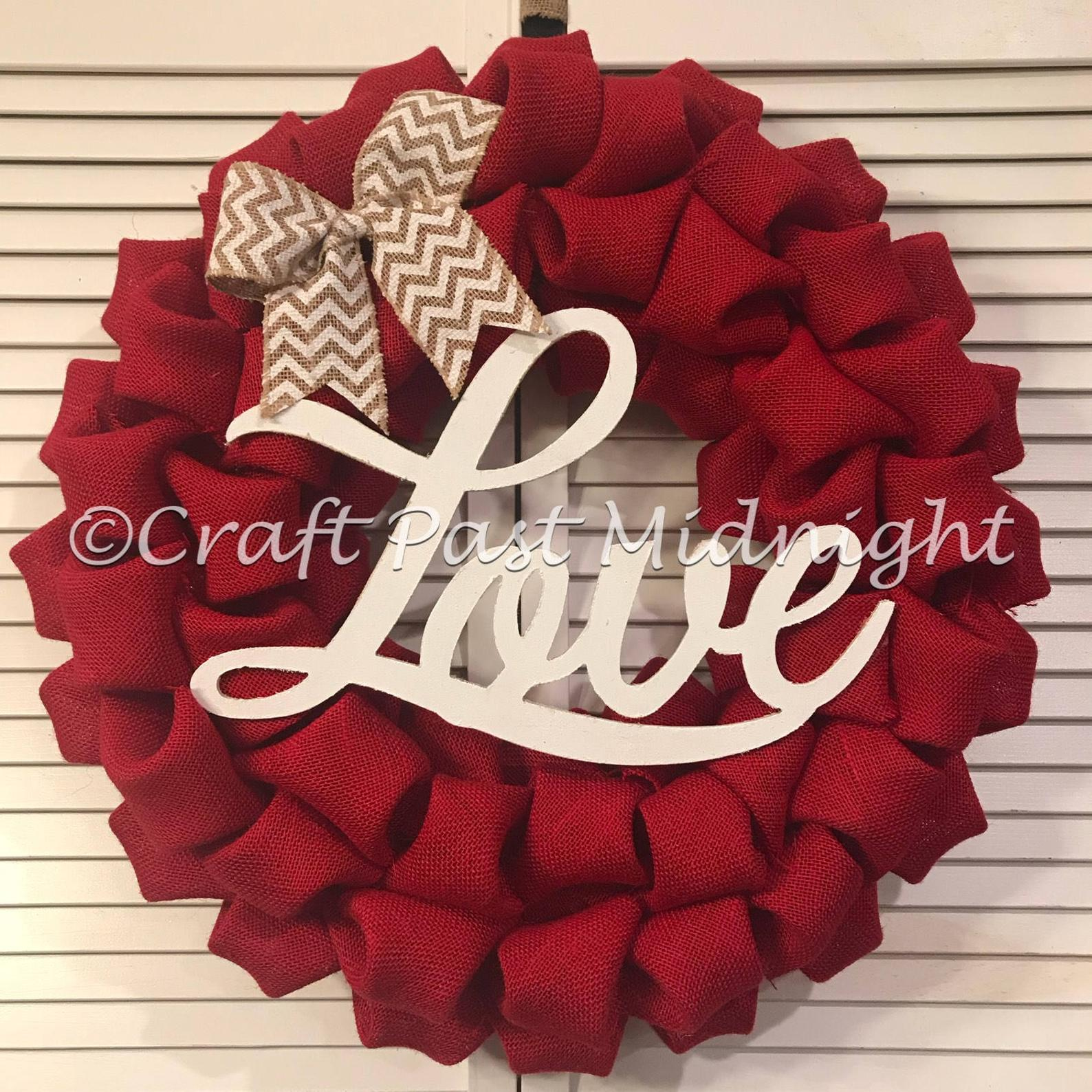Red burlap wreath for Valentine's Day