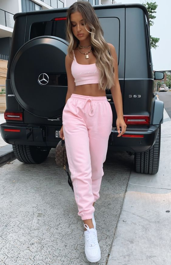 Cute pink outfits with joggers and coordinate sets
