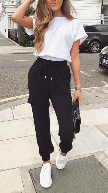 Casual wear with black tracksuit