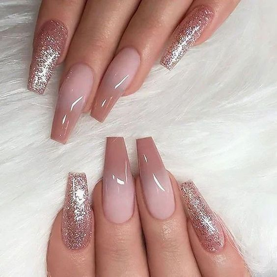 Neutral acrylic pink ombre nails