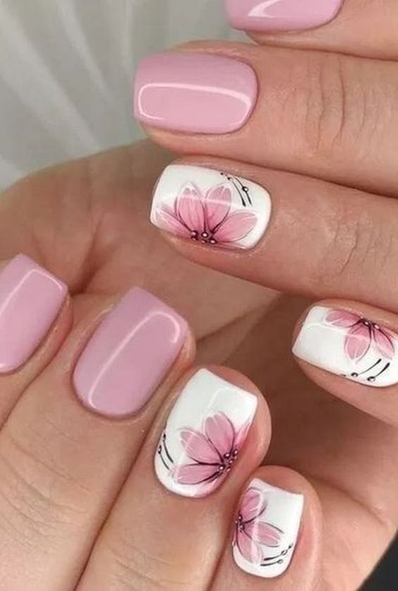 Cute floral nail designs with pink and white