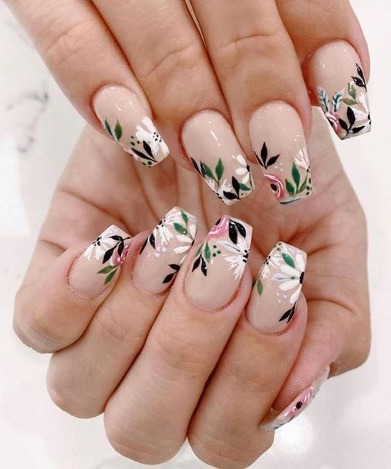 Neutral acrylic floral nails